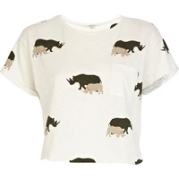 White rhino print crop top