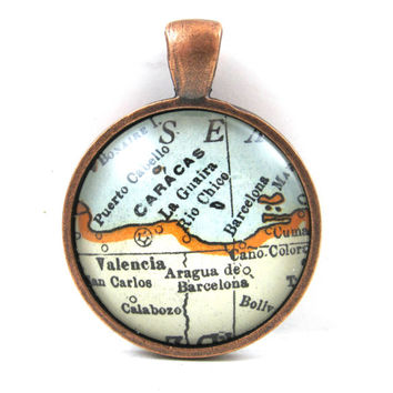 Caracas, Venezuela, Pendant from Vintage Map, in Glass Tile Circle