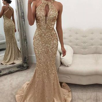 Prom Dresses Mermaid Halter Glitter Backless Evening Dress