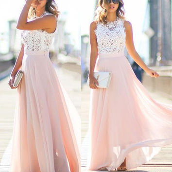 A-Line Lace Chiffon Pink Prom Dresses,Prom Dress