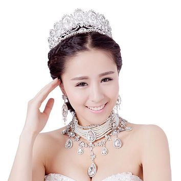 Teardrop Crystal Pearl Crown 3PCS Roses Gold/Silver Bride Tiara Jewelry Set