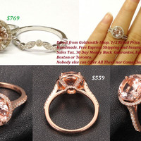 Round Morganite Engagement Ring Pave Diamond Wedding 14K Rose Gold 8mm