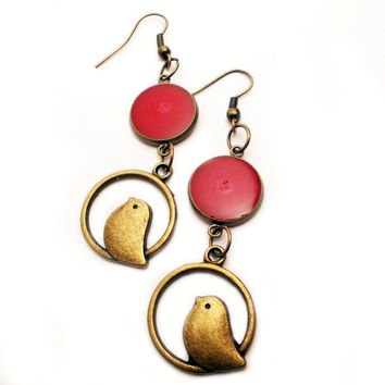Red Resin Earrings with Antique Brass Bird Charms, Resin Jewelry