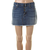Hudson Womens Anya Whisker Wash Denim Mini Skirt