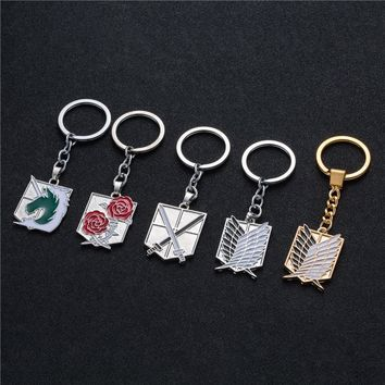 Cool Attack on Titan Hot Anime keychain  badge pendant necklace Stainless steel key chain holder cover charms for motorcycle car keys AT_90_11