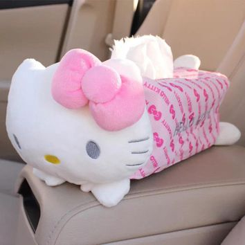 Hello Kitty Car Tissue Napkin Paper Storage Box