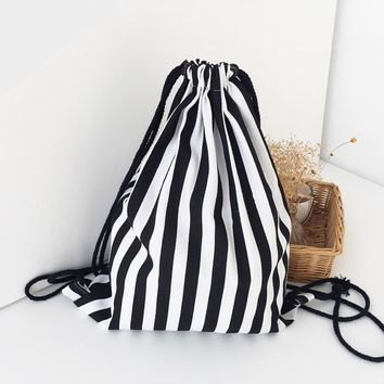 Black Stripes Drawstring Bags Cinch String Backpack Funny Funky Cute Novelty