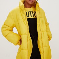 Yellow Ring Pull Longline Puffer Jacket