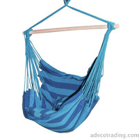 Furnistar Naval-Style Cotton Fabric Canvas Hammock Tree Hanging Suspended Outdoor Indoor Chair Royal Blue Color 17 inches Wide Seat