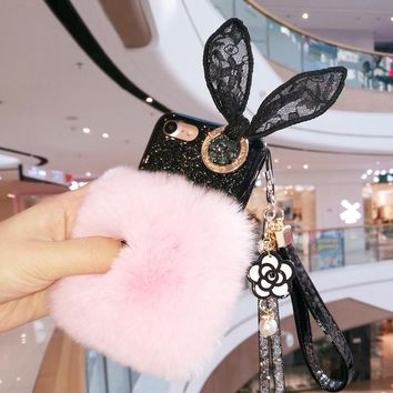 For iPhone X 6 7 8 plus Luxury rabbit fur buckle lace ear glitter soft phone case cover lanyard