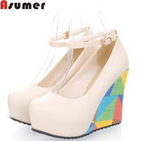 ASUMER 2016 new arrive fashion sexy wedges high heels women pumps PU leather ladies peep toe wedding shoes woman HH853