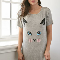 Cat Print Heathered Nightdress