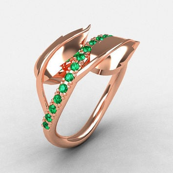 14K Rose Gold Emerald Leaf and Vine Wedding Ring, Engagement Ring NN113-14KRGEM