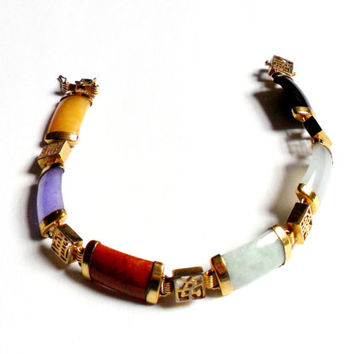 Vintage Chinese Jade Bracelet Multicolor Band Bar Amethyst Chinese Character Gold Tone Link