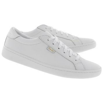 Women's ACE white/white leather lace up sneakers