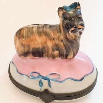 Limoges Box, Peint Main, Porcelain, Yorkshire Terrier Dog, Vintage Home Decor Spring Sale
