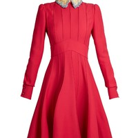 Embellished-collar wool and silk-blend dress | Valentino | MATCHESFASHION.COM US