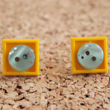 Lego Square Earrings - yellow brick blue button custom resin stacked cute geek nerd studs FREE shipping to USA