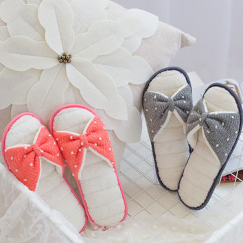 Summer Knit Butterfly Home Anti-skid Peep Toe Slippers [4919400644]