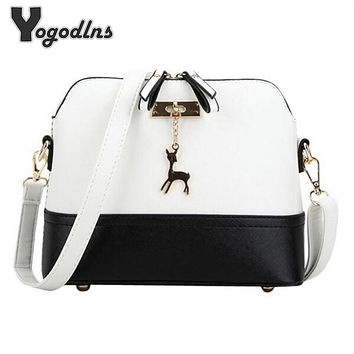 Women shoulder bags messenger bag women leather small shoulder bag famous brand cross body bag Deer Spliced Collision color