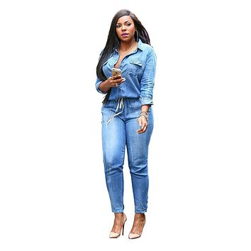 Adogirl Denim Overalls Women Plus Size 3XL Bodycon Jumpsuit Full Sleeve Long Rompers Elegant Casual Button Pocket Jean Coverall
