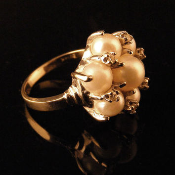 Vintage Diamond and Cluster Pearl Ring 14K White Gold by TidBitz