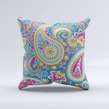Subtle Blue & Yellow Paisley Pattern Ink-Fuzed Decorative Throw Pillow