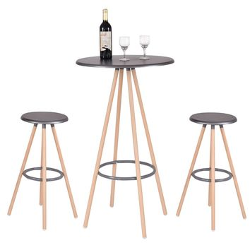 Giantex 3 Piece Bar Table Set with 2 Stools Bistro Pub Round Table Chairs Set Modern Bar Kitchen Dining Furniture HW53896