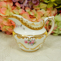 Stunning Coalport Porcelain Creamer ~ Y2480 Floral Yellow Panel Gold Encrusted