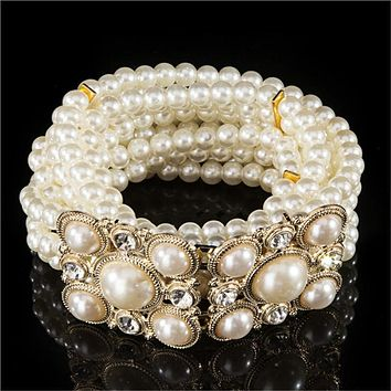 New Fashion Small Gold Buckle Inlaying Rhinestone Pearl Elastic Belts For Women all-match Dress A314 Free Shipping