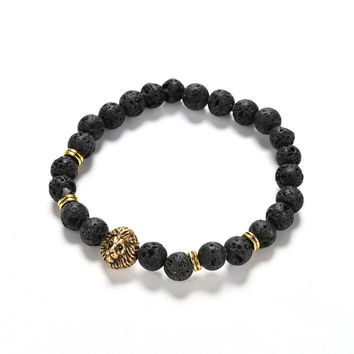For Women   Men Jewelry S Gold Silver Natural Stone Bracelets Bangles Pulseras Lion Head Beads Bracelets SM6
