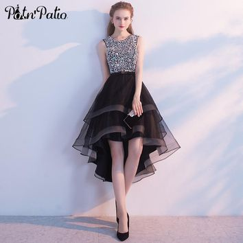 PotN'Patio Black High Low Prom Dresses 2017 New Luxury Sequined Pearls Prom Dresses With Rhinestones Special Occasion Dresses