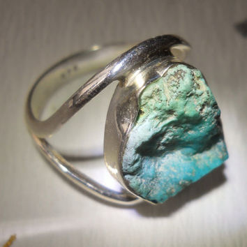 Vintage Turquoise Sterling Silver Ring Sleeping Beauty Raw  sz 8