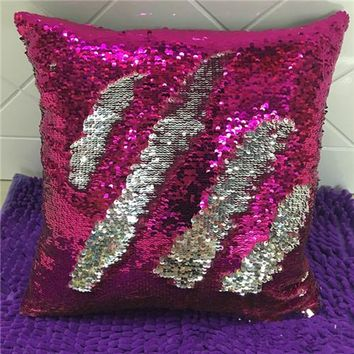"""16""""x16"""" with INSERT Mermaid Flip Sequin Pillow that Changes Color Reversible Pillow with Sequins Perfect Color Changing Throw Pillow Square for Home Decor Great Gift for all Pink Silver"""