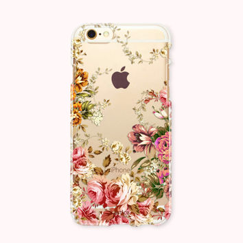 Clear Transparent iPhone 6 Case, iPhone 6s case, iPhone 6 Plus Case, iPhone 6s plus case, iPhone 5S, iPhone SE, Galaxy Case - Autumn Flower
