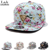 2016 Fashion men floral printed bone snapback caps adjustable baseball hats for women hip hop baseball cap 4 colors 58