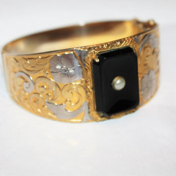 Vintage Bangle Bracelet, Wide Bangle Bracelet, Two Tone Embossed Bracelet, 1960s Jewelry