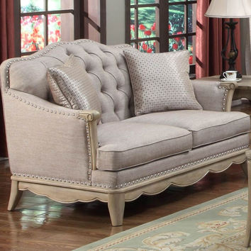 Fabric Love Seat  Beige Tufted HE3138LV