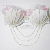 pastel pink floral pearl bra by LBraveattire on Etsy