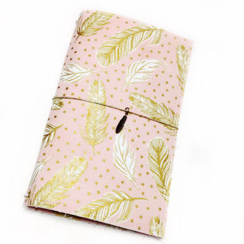 Fabric Fauxdori Travelers Notebook Travel Journal Midori Cover Planner cover Molskine book style cover with charm- Pink with Gold Feathers