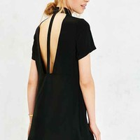 Silence + Noise Cut-Out Back Shirt Dress- Black