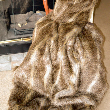 "Exotic Brown Feather Faux Fur / Fake Fur Blanket Throw 60"" x 72"", Ready to Ship"