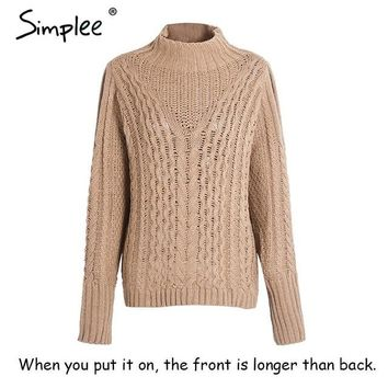 Cold Shouldered High Neck Long-Sleeve Pullover Sweater