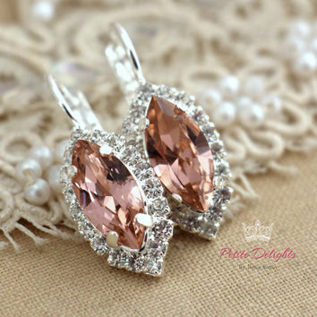 Pink Blush silver drop earrings, Swarovski silver droplet pink earrings, bridal jewelry, silver rhinestone earrings, silver plated  earrings