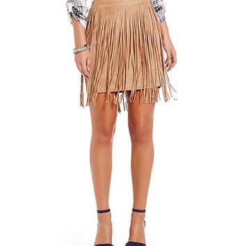 Fornia Faux-Suede Fringe Skirt | Dillards