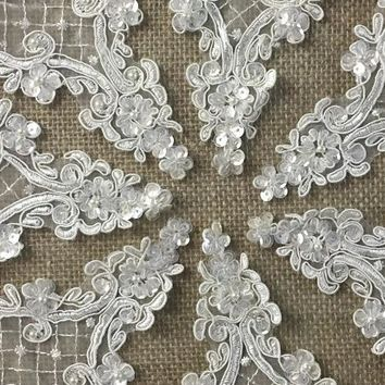 "4 pieces, Beautiful Diamond Shaped Corded, Sequined, Beaded, Organza Applique, 4""X6"""