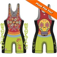 Made 4 U Mexico Calavera Wrestling Singlet