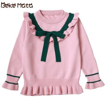 BEKE MATA Kids Sweaters Girls Preppy Style Bow Tie Toddler Girl Sweater Long Sleeve Knit Pullover Children Clothing