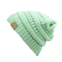 Trendy Warm Chunky Soft Stretch Cable Knit Slouchy Beanie Skully HAT20A,One Size,Sage