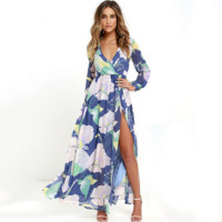 Fashion Flower Print Long Sleeve V-Neck Hem Split Maxi Dress